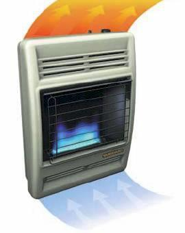 "Blue Flame Convection Heaters work much like a central heating system. They warm the air first, then people and objects. Altogether, the heat is more ""gentle"" as the warming process occurs. Adding to its beauty, the blue flame glows through tempered, tinted glass for warm,intimate comfort."